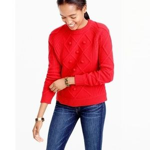 J. Crew Cable Knit Pom Pom Sweater